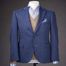 A blue shirt and jacket