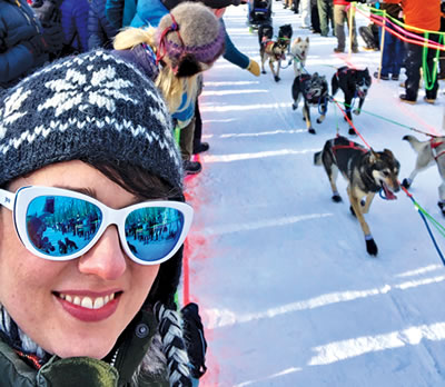 Hannah Allison at a Dog Sled Race