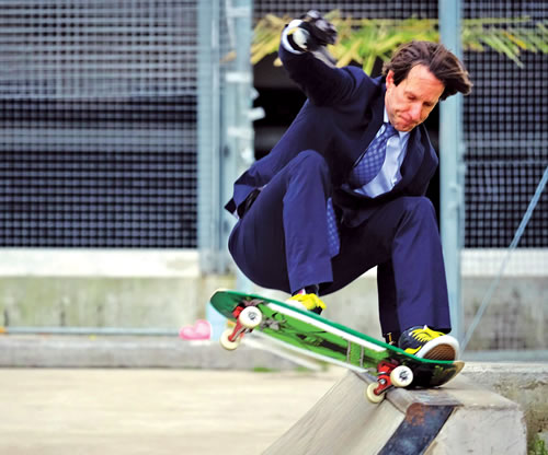 Rob Buford on a Skateboard