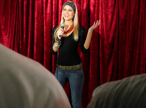 A stand-up comedian on stage