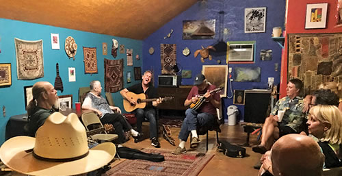 An indoor jam session at Abrams' house in the Montrose area of  Houston.
